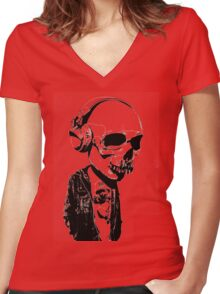 HIPSTERSKULL Women's Fitted V-Neck T-Shirt