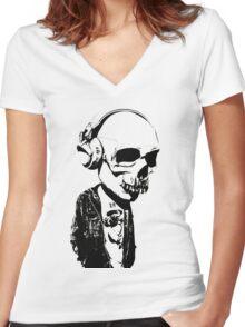 HIPSTERSKULL Women's Fitted V-Neck T-Shirt