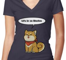 Existential Shiba Inu  Women's Fitted V-Neck T-Shirt