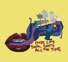 Loose Lips Sink Ships One Piece - Short Sleeve