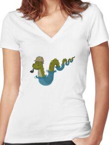 Sherloch Ness Monster Women's Fitted V-Neck T-Shirt