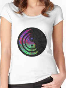 Yin Yang Hippie Balance Logo Round Psychedelic Colorful 70s Hip Women's Fitted Scoop T-Shirt