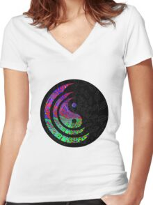 Yin Yang Hippie Balance Logo Round Psychedelic Colorful 70s Hip Women's Fitted V-Neck T-Shirt
