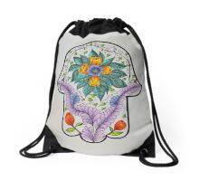 Hamsa/4 - Flowers & Feathers Drawstring Bag