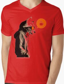COFFEE CAT Mens V-Neck T-Shirt