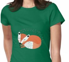 Wild Forest Animals Sleeping Red Fox Womens Fitted T-Shirt