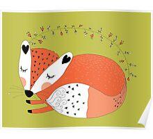 Wild Forest Animals Sleeping Red Fox Poster