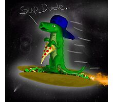 Supergator flying through space on a taco! Photographic Print