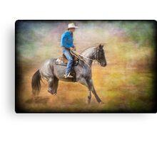 The Cowboy on a Grey Horse Canvas Print