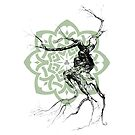 Celtic world tree ink drawing by scott allison