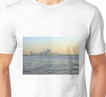 Photography of tall skyscrapers in Dubai seen by the sea. United Arab Emirates. Unisex T-Shirt