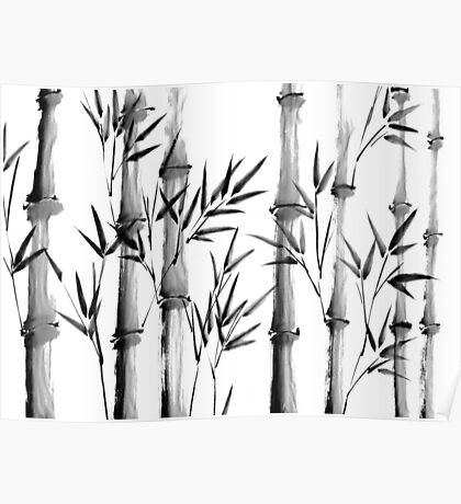 Black and white bamboo forest Poster