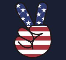 USA Peace Hand Sign Baby Tee
