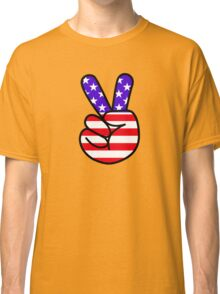 USA Peace Hand Sign Classic T-Shirt