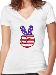USA Peace Hand Sign Women's Fitted V-Neck T-Shirt