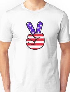 USA Peace Hand Sign Unisex T-Shirt