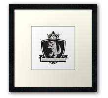 Gator Standing Side Coat of Arms Crest Retro Framed Print