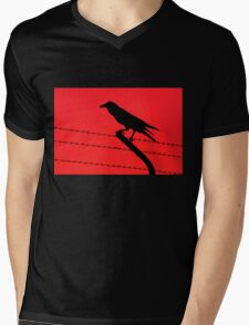Barbed Wire Crow Mens V-Neck T-Shirt