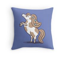 Tiny Horse Rearing - brown and white Throw Pillow
