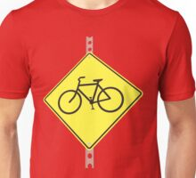 """""""Bicycles ahead"""" - 3d illustration of yellow roadsign isolated on white background Unisex T-Shirt"""