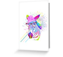 Funky neon zebra Greeting Card