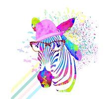 Funky neon zebra Photographic Print