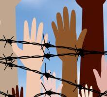 Hands Behind a Barbed Wire 2 Sticker