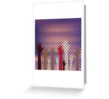 Hands Behind a Wire Fence Greeting Card