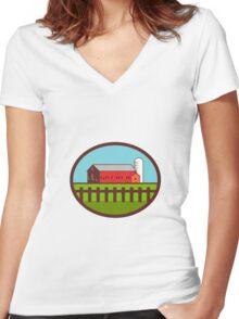 Farm Barn House Silo Oval Retro Women's Fitted V-Neck T-Shirt