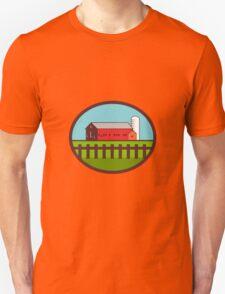 Farm Barn House Silo Oval Retro Unisex T-Shirt