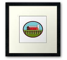 Farm Barn House Silo Oval Retro Framed Print