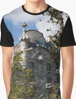 Antoni Gaudi's Casa Batllo Through Sycamore Trees Graphic T-Shirt