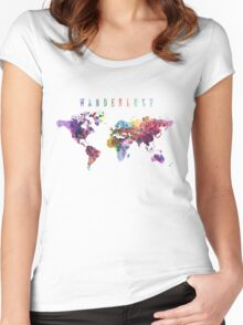 Wanderlust World Map Watercolor Women's Fitted Scoop T-Shirt