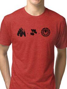 Bears + Beets + Battlestar Galactica (Black on White) Tri-blend T-Shirt