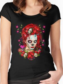 Sugar Doll Red Dia De Muertos Women's Fitted Scoop T-Shirt