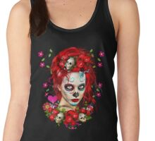 Sugar Doll Red Dia De Muertos Women's Tank Top