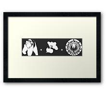 Bears + Beets + Battlestar Galactica (White on Black) Framed Print