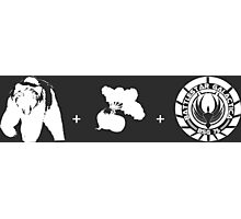 Bears + Beets + Battlestar Galactica (White on Black) Photographic Print