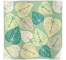 Pattern with stylish leaves Poster