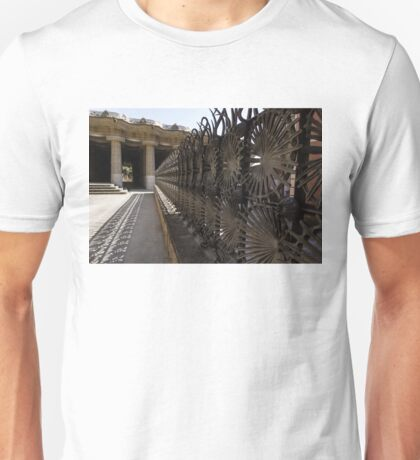 Shadow Play - a Whimsical Wrought Iron Fence by Antoni Gaudi - Park Guell, Barcelona Unisex T-Shirt