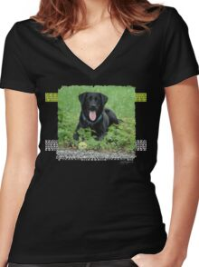Loki - Black Labrador Women's Fitted V-Neck T-Shirt