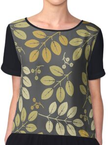 Decorative spring flowers and leaves on grey background Chiffon Top