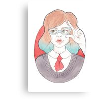 Nerdy, Blue-Haired Minerva in Vintage Glasses Canvas Print