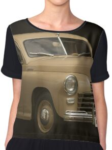 retro car on a black background Chiffon Top