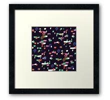 Confetti - Navy Framed Print
