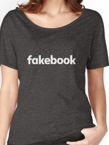 Fakebook Logo White Women's Relaxed Fit T-Shirt
