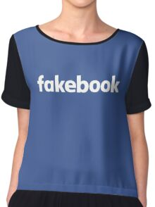 Fakebook Logo White Chiffon Top