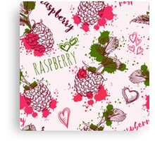 Seamless pattern with raspberry and splashes in watercolor style. Canvas Print