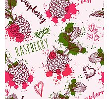 Seamless pattern with raspberry and splashes in watercolor style. Photographic Print