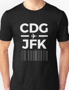 Paris New York Charles de gaulle to JFK New York Airport Code Design Unisex T-Shirt